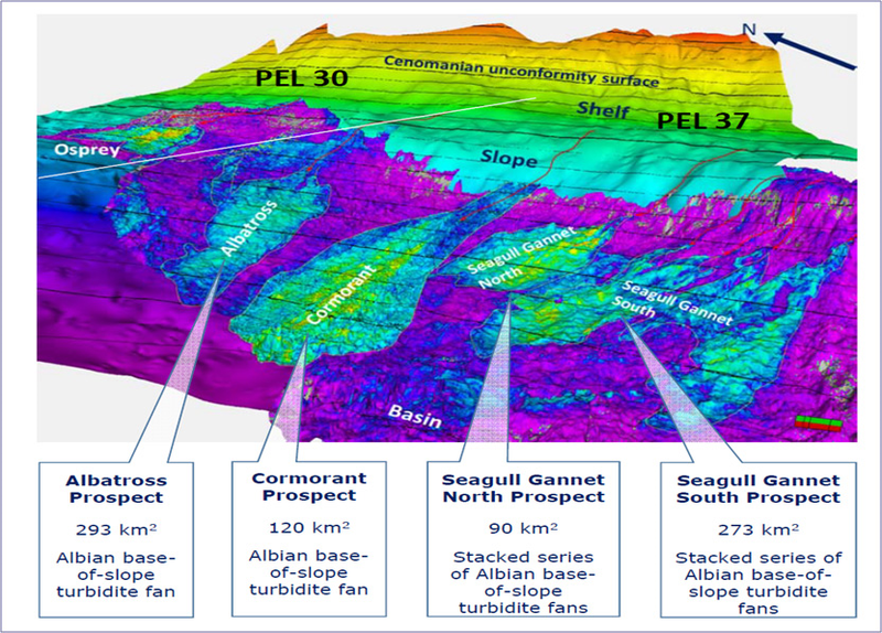 3D Visualisation of Albian base of slope fans (Source https://pancon.com.au/wp-content/uploads/2018/01/2018-01-11-PCL-ASX-Investor-Presentation.pdf)