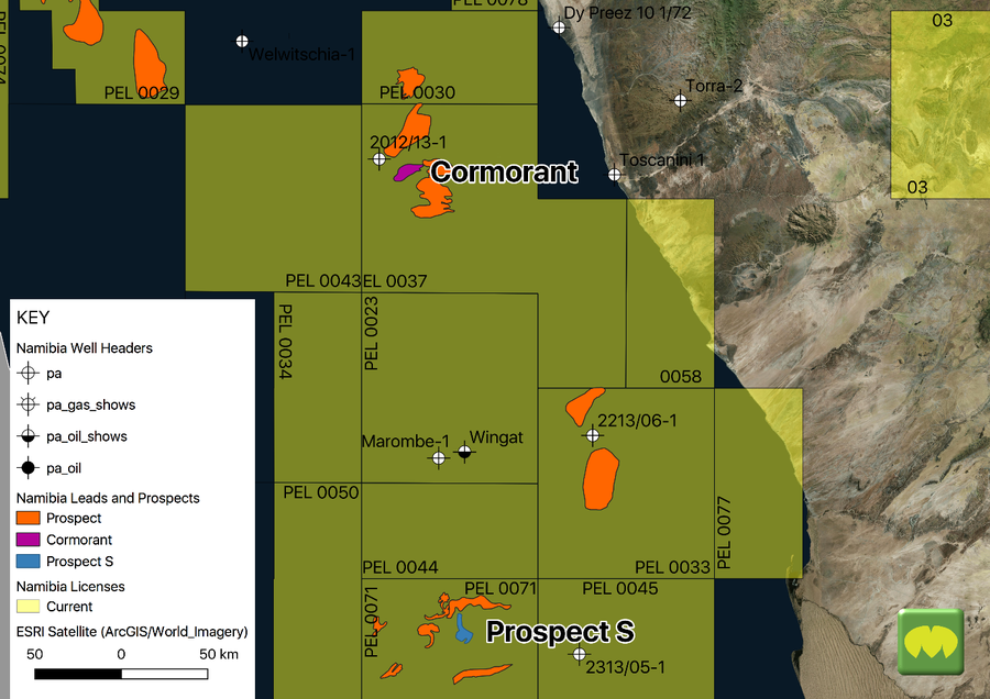 Walvis Basin Licence Position with Prospects (Source MapStand)